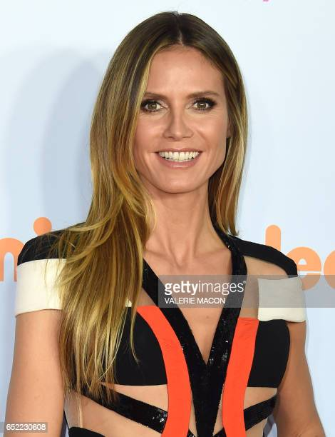 Model Heidi Klum arrives for the 30th Annual Nickelodeon Kids' Choice Awards March 11 at the Galen Center on the University of Southern California...