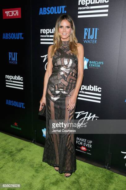 Model Heidi Klum at a celebration of music with Republic Records in partnership with Absolut and Pryma at Catch LA on February 12 2017 in West...