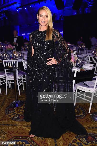 Model Heidi Klum attends 2016 amfAR New York Gala at Cipriani Wall Street on February 10 2016 in New York City