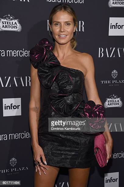 Model Heidi Klum attends Harper's Bazaar's celebration of ICONS By Carine Roitfeld presented by Infor Laura Mercier and Stella Artois at The Plaza...