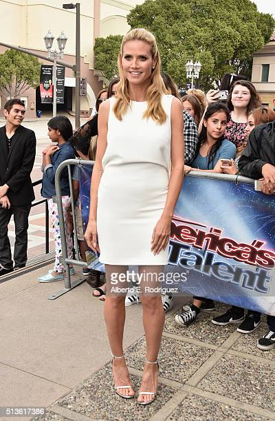 Model Heidi Klum attends NBC's America's Got Talent Season 11 Kickoff at Pasadena Civic Auditorium on March 3 2016 in Pasadena California