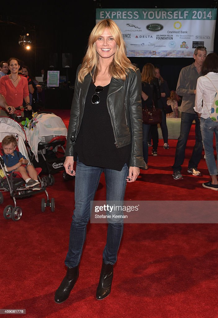 Model Heidi Klum attends P.S. ARTS presents Express Yourself 2014 with sponsors OneWest Bank and Jaguar Land Rover at Barker Hangar on November 16, 2014 in Santa Monica, California.