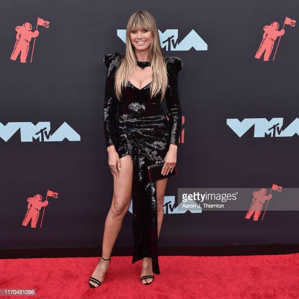 Model Heidi Klum attends the 2019 MTV Video Music Awards red carpet at Prudential Center on August 26 2019 in Newark New Jersey