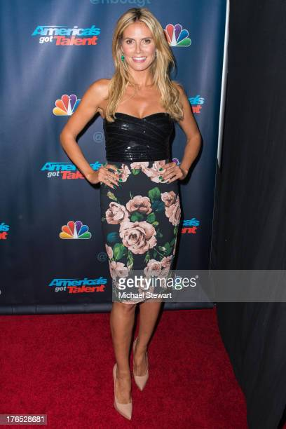 Model Heidi Klum attends the America's Got Talent Post Show Red Carpet at Radio City Music Hall on August 14 2013 in New York City