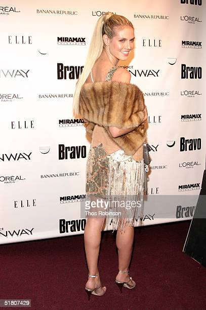 """Model Heidi Klum attends the launch for """"Project Runway"""" at PM Lounge on November 30, 2004 in New York City."""