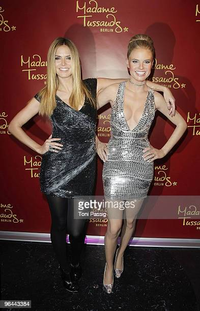 Model Heidi Klum attends the unveiling of her wax figure at Madame Tussauds on January 25 2010 in Berlin Germany