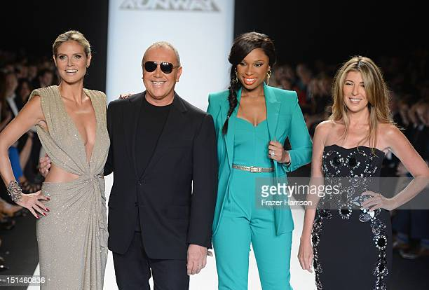 Model Heidi Klum designer Michael Kors singer Jennifer Hudson and Nina Garcia walk the runway at the Project Runway Spring 2013 fashion show during...