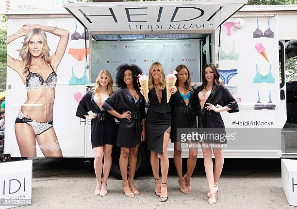 Model Heidi Klum hosts Lingerie Ice Cream Truck And Shopping Party For Heidi By Heidi Klum at Macy's Herald Square on June 23 2016 in New York City