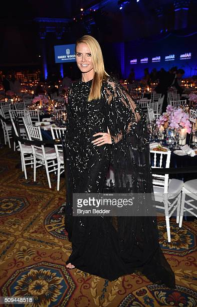 Model Heidi Klum is seen during Moet Chandon Toasts to the amfAR Gala at Cipriani Wall Street on February 10 2016 in New York City