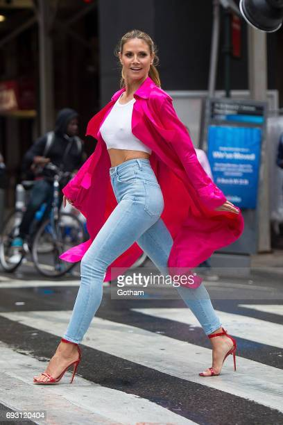 Model Heidi Klum is seen in Midtown during a taping of 'Project Runway' on June 6 2017 in New York City