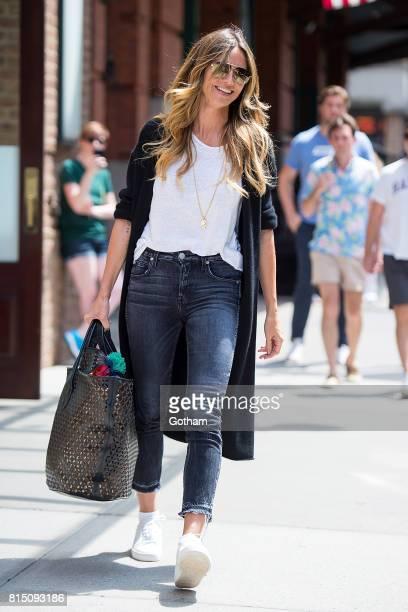 Model Heidi Klum is seen in Tribeca on July 15 2017 in New York City