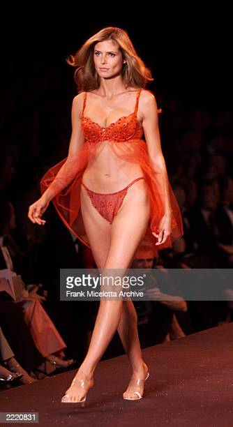 Model Heidi Klum on the runway at the Victoria's Secret fashion show benefit for amfAR Cinema Against Aids 2000 at the Cannes Film Festival 5/18/00