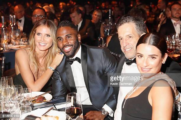 Model Heidi Klum singer Jason Derulo designer Kenneth Cole and actress Lea Michele attend amfAR's Inspiration Gala at Milk Studios on October 27 2016...