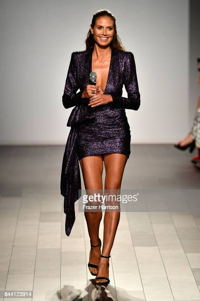 Model Heidi Klum walks the runway at the Project Runway fashion show during New York Fashion Week The Shows at Gallery 1 Skylight Clarkson Sq on...