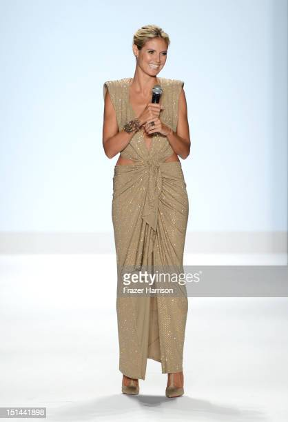 Model Heidi Klum walks the runway at the Project Runway Spring 2013 fashion show during MercedesBenz Fashion Week at The Theatre at Lincoln Center on...