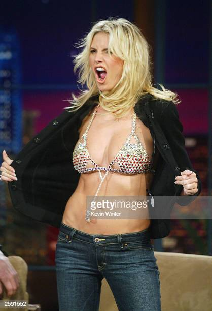 Model Heidi Klum wears an $8 million diamond bra during an appearance on 'The Tonight Show with Jay Leno' at the NBC Studios October 14 2003 in...