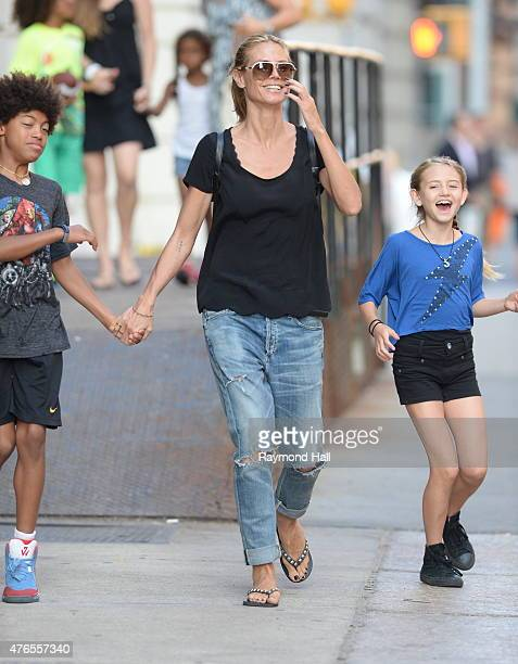 Model Heidi Klum,Henry Gunther Ademola Dashtu Samuel,Helene Boshoven Samuel are seen in Tribeca on June 9, 2015 in New York City.