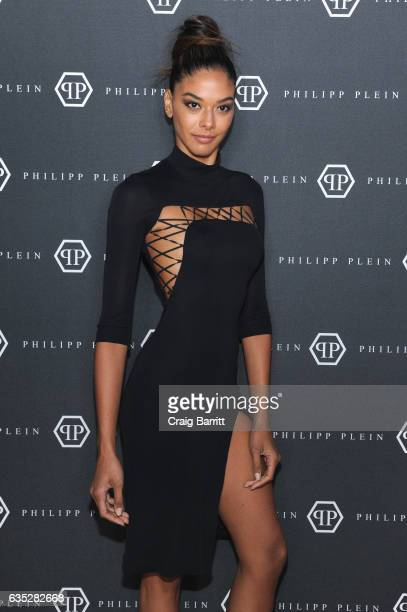Model Heidy De La Rosa attends the Philipp Plein Fall/Winter 2017/2018 Women's And Men's Fashion Show at The New York Public Library on February 13...