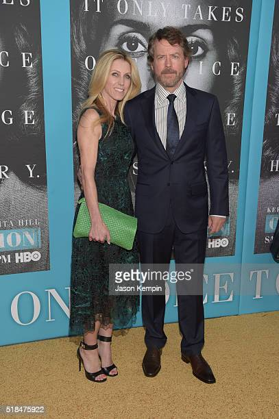 Model Helen Labdon and actor Greg Kinnear attend the premiere of HBO Films' Confirmation at Paramount Theater on the Paramount Studios lot on March...