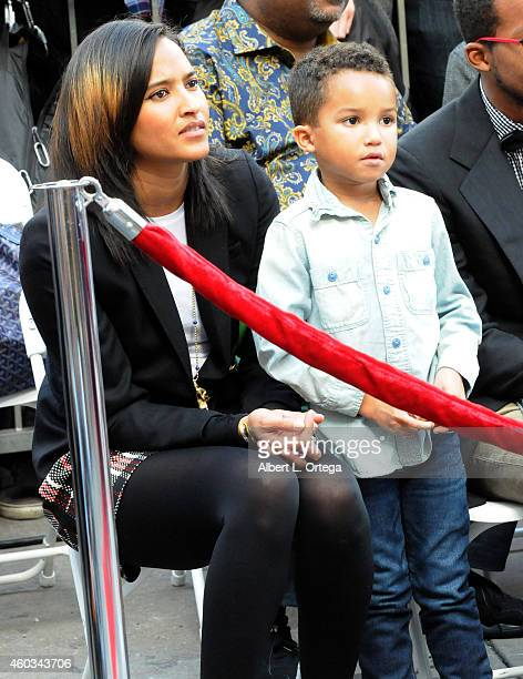 Model Helen Lasichanh and son Rocket Williams at the Hollywood Walk Of Fame Ceremony honoring Pharrell Williams on December 4 2014 in Hollywood...