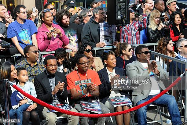 Model Helen Lasichanh son Rocket Williams and family at the Hollywood Walk Of Fame Ceremony honoring Pharrell Williams on December 4 2014 in...