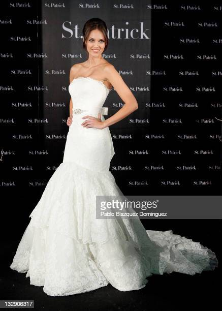 Model Helen Lindes presents the new St Patrick's Wedding Dresses Collection at Estudio Q17 on November 15 2011 in Madrid Spain