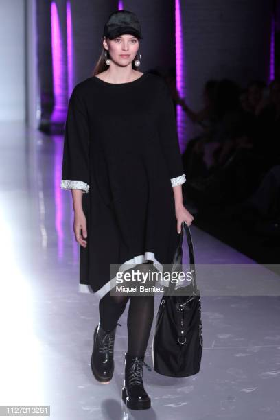 Model Helen Lindes walks the runway at the Maite by Lola Casademunt's new F/F 2019 collection during 080 Barcelona Fashion Week held at Recinte...