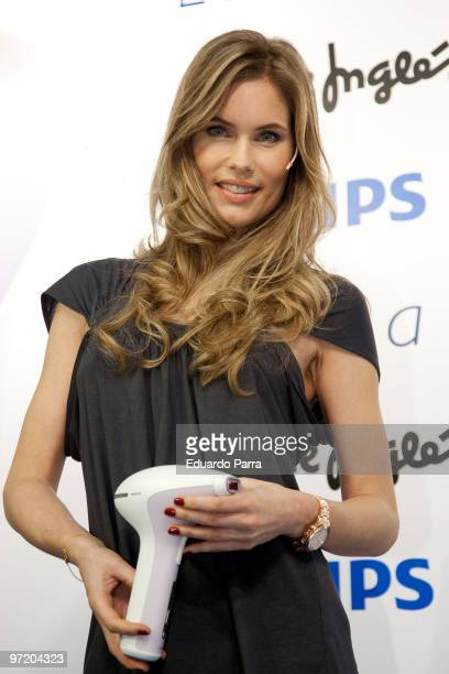 Model Helen Svedin attends a photocall for the Philips Lumea hair removal system at El Corte Ingles Mall on March 1 2010 in Madrid Spain