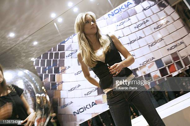 Model Helen Svedin launches the new Nokia 5310 and Nokia 5610 at IFEMA on February 13 2008 in Madrid Spain