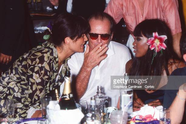Model Helena Christensen, Actor Jack Nicholson and Model Naomi Campbell attend Stephanie Seymour Celebrates her Bachelorette Party before Wedding...