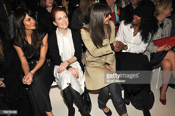 Model Helena Christensen Actress Julianne Moore Actress Maggie Gyllenhaal and Singer Kelly Rowland attend the Tommy Hilfiger Fall 2008 fashion show...