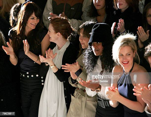 Model Helena Christensen Actress Julianne Moore Actress Maggie Gyllenhaal Singer Kelly Rowland and Actress Alice Evans attend the Tommy Hilfiger Fall...