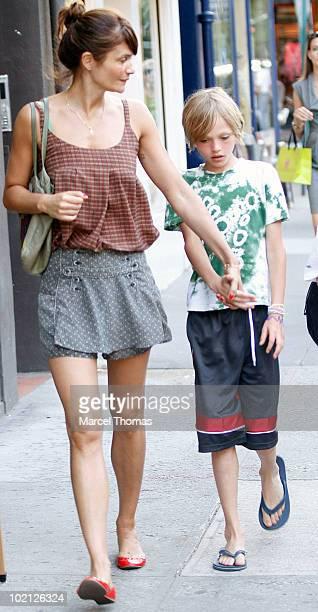Model Helena Christensen and son Mingus Reedus sighting in the West Village on June 15 2010 in New York New York