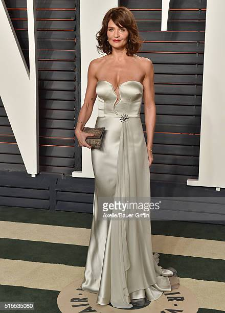 Model Helena Christensen arrives at the 2016 Vanity Fair Oscar Party Hosted By Graydon Carter at Wallis Annenberg Center for the Performing Arts on...