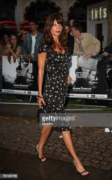 Model Helena Christensen arrives at the The Bourne Ultimatum UK film premiere at the Odeon Leicester Square on August 15 2007 in London England