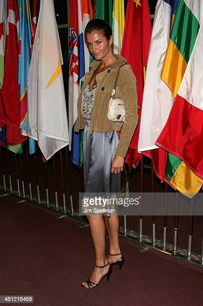 Model Helena Christensen arrives at the Trade Premiere at the United Nations on September 19 2007 in New York City