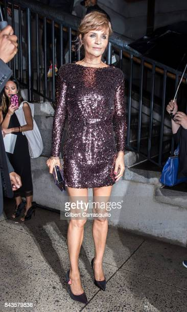 Model Helena Christensen arrives to the Tom Ford Spring/Summer 2018 Runway Show at Park Avenue Armory on September 6 2017 in New York City
