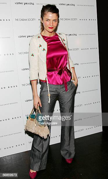 Model Helena Christensen attends the Cinema Society/Hugo Boss screening of Winter Passing at the Tribeca Grand February 15 2006 in New York City