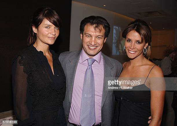 Model Helena Christensen Frederic Fekkai and Kara Young attend the opening of Frederic Fekkai Salon and Spa at Henri Bendel May 2 2006 in New York...