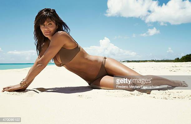 Model Helena Christensen is photographed for Madame Figaro on March 20 2015 in Guadeloupe Saint Martin Beauty by Dior Bathing suit bracelets CREDIT...