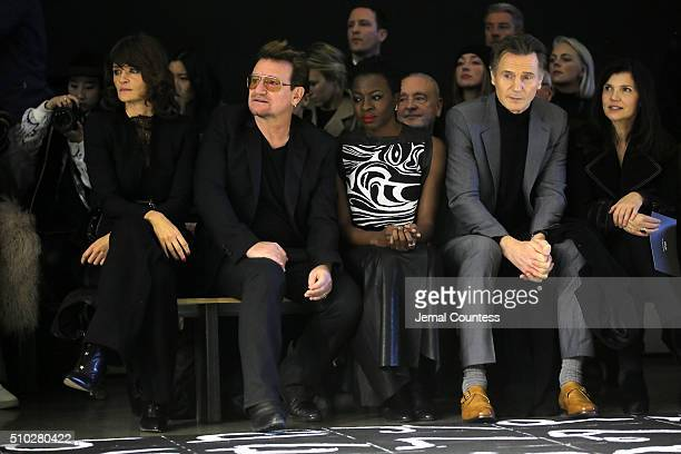 Model Helena Christensen, music artist Bono, author Danai Gurira, actor Liam Neeson and activist Ali Hewson attend the front row during the Edun Fall...