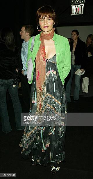 Model Helena Christiansen attends the Matthew Williamson fashion show at Bryant Park during the 2004 Olympus Fashion Week February 11, 2004 in New...