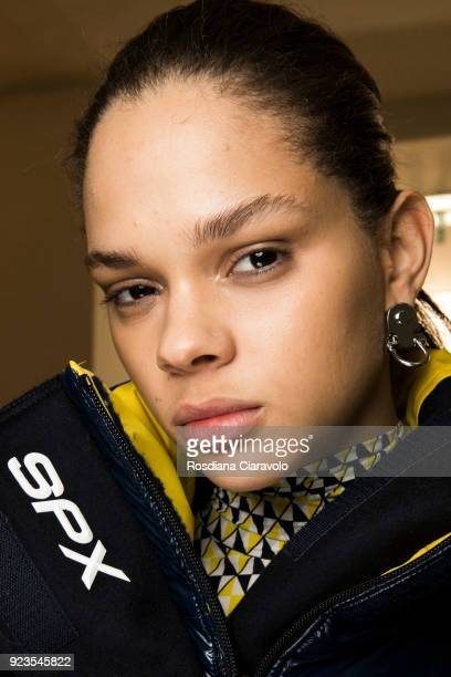 Model Hiandra Martinez is seen backstage ahead of the Sportmax show during Milan Fashion Week Fall/Winter 2018/19 on February 23 2018 in Milan Italy