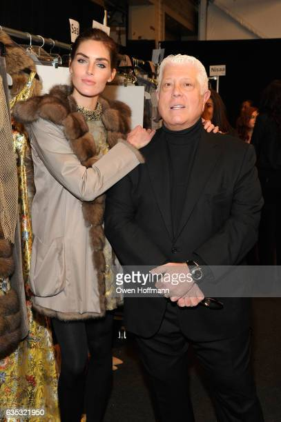 Model Hilary Rhoda and Designer Dennis Basso pose backstage at the Dennis Basso Collection Show during New York Fashion Week The Shows at Skylight...