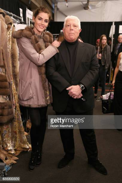 Model Hilary Rhoda and designer Dennis Basso pose backstage for the Dennis Basso collection during New York Fashion Week The Shows at Gallery 1...