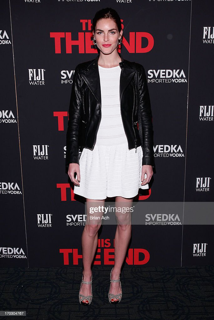 Model Hilary Rhoda attends a special New York screening of Columbia Pictures' 'This Is The End' presented by FIJI water on June 10, 2013 in New York City.