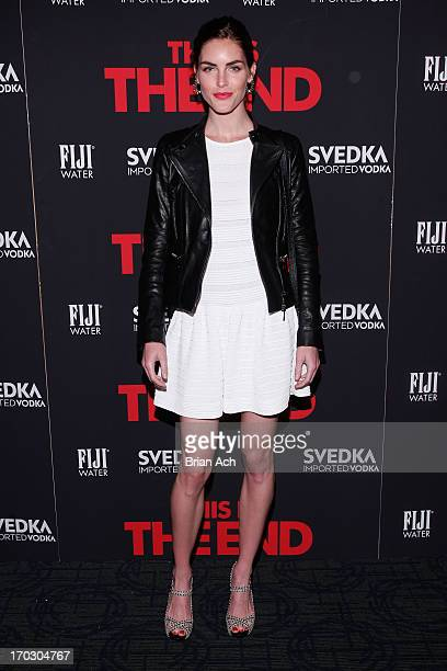 Model Hilary Rhoda attends a special New York screening of Columbia Pictures' 'This Is The End' presented by FIJI water on June 10 2013 in New York...