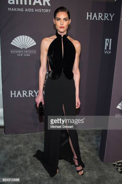 Model Hilary Rhoda attends the 19th Annual amfAR New York Gala at Cipriani Wall Street on February 8 2017 in New York City
