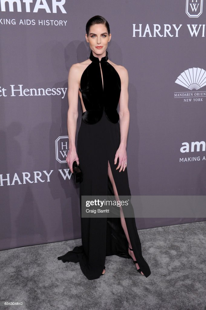 Model Hilary Rhoda attends the amfAR New York Gala 2017 sponsored by FIJI Water at Cipriani Wall Street on February 8, 2017 in New York City.