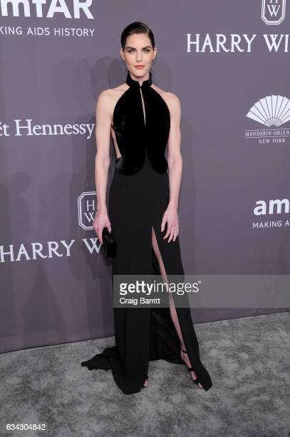 Model Hilary Rhoda attends the amfAR New York Gala 2017 sponsored by FIJI Water at Cipriani Wall Street on February 8 2017 in New York City